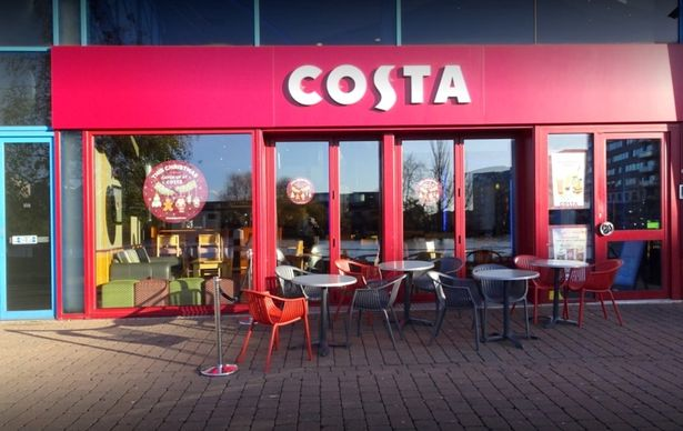 Ceiling at Costa Coffee branch caves in sending debris smashing onto tables and chairs