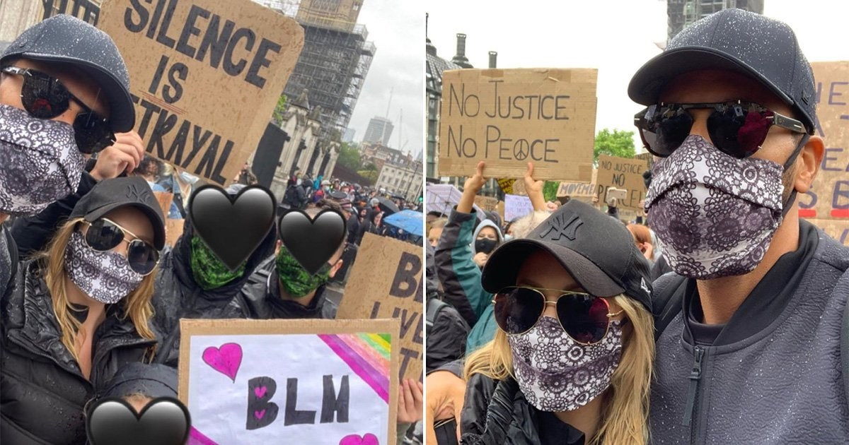 Kate and Rio Ferdinand 'emotional' as they join Black Lives Matter protest with football star's kids