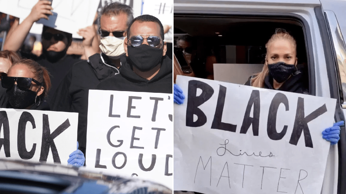 Jennifer Lopez marches with Black Lives Matter banner at Hollywood protest with Alex Rodriguez