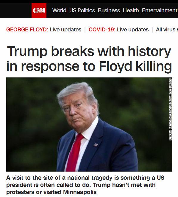 """特朗普又""""打破传统"""",美媒:""""黑人之死""""事件至今,总统没见抗议者也没去案发地"""