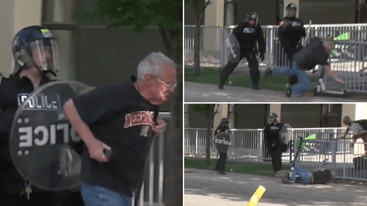 Cops filmed shoving elderly cancer sufferer to the ground during George Floyd protests