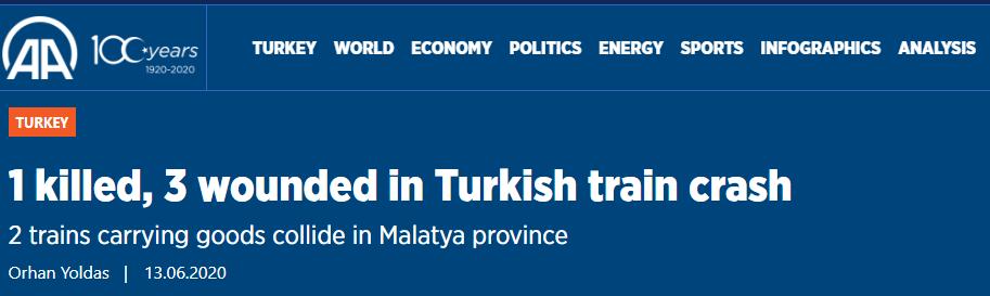 土耳其两辆火车相撞,已致1人死亡、3人受伤