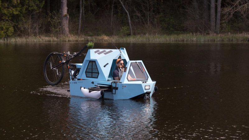 Zeltini Z-Triton is a boat, trike and cabin all in one