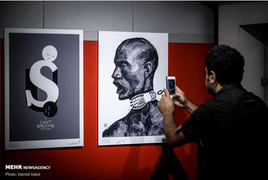 """有图!美国""""黑人之死""""引发抗议持续,伊朗举办""""我不能呼吸""""漫画展"""