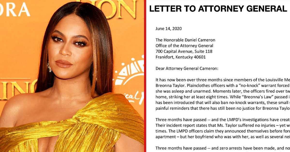 Beyoncé Is Calling For Breonna Taylor's Killers To Be Fired And Charged