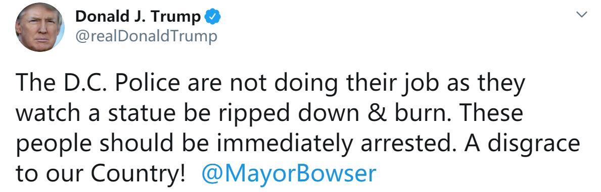 华盛顿示威者破坏南方邦联将军雕像,特朗普怒斥:立即逮捕!国家的耻辱!