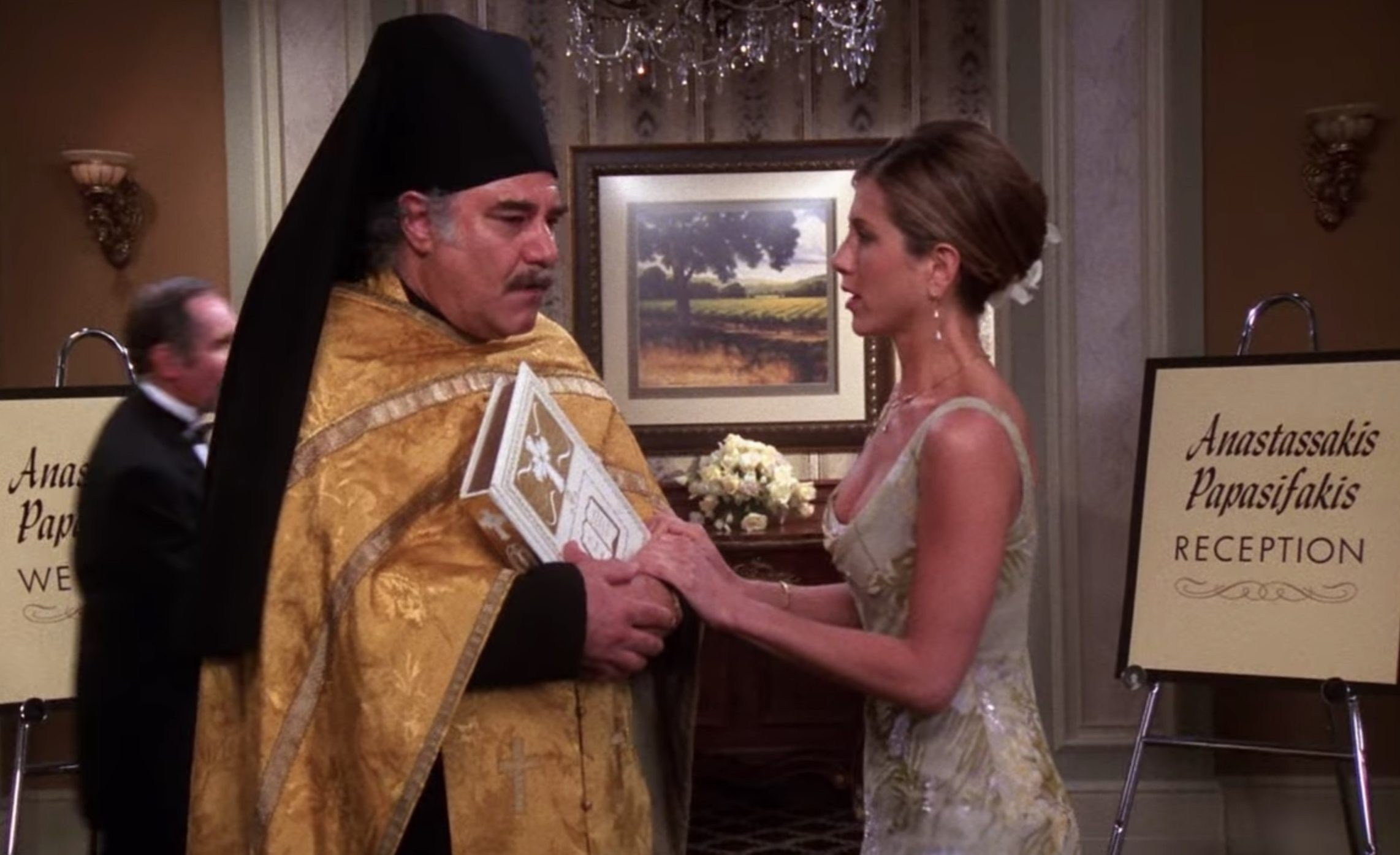 Friends' easter egg at Chandler and Monica's wedding gives sweet nod to Jennifer Aniston's heritage