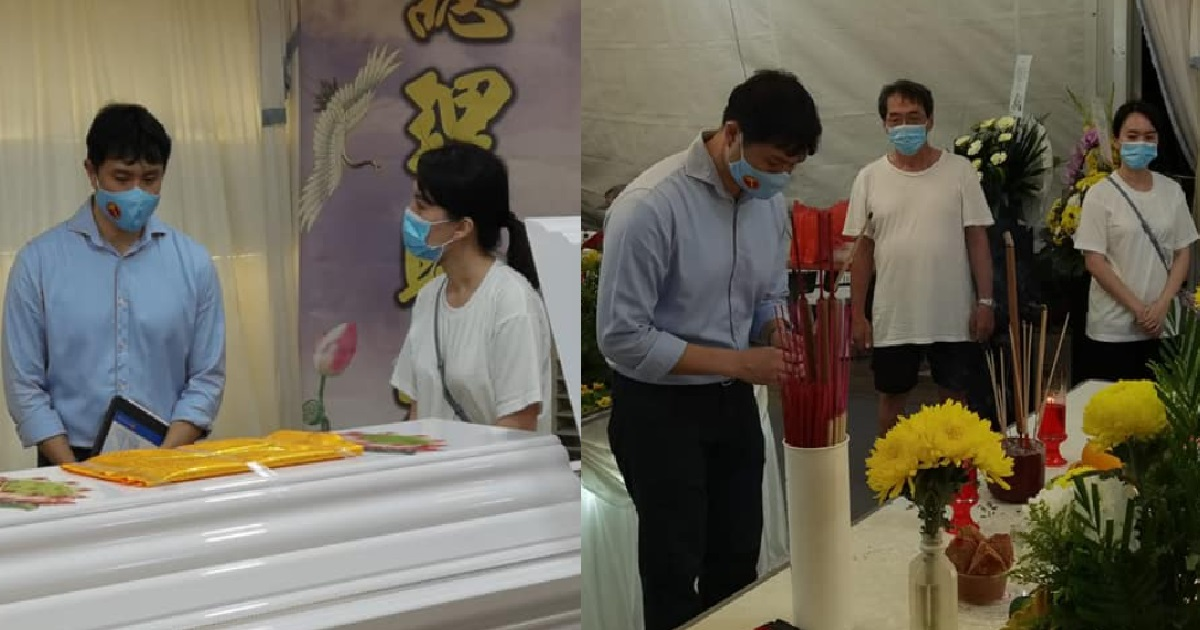 Jamus lim attends the funeral wake of an anchovale link resident