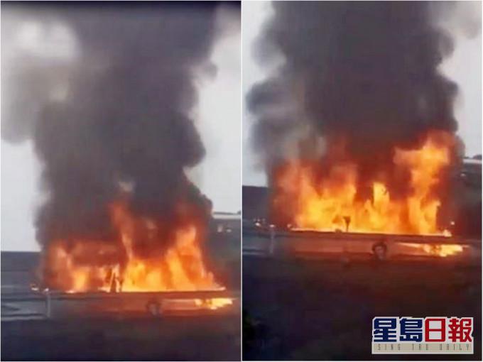 贵州两车追尾相撞 起火燃烧7人死亡