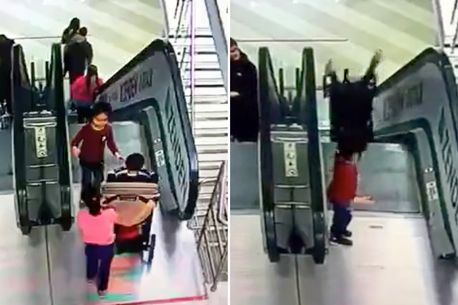 Children badly injured after buggy somersaults down shopping centre escalator