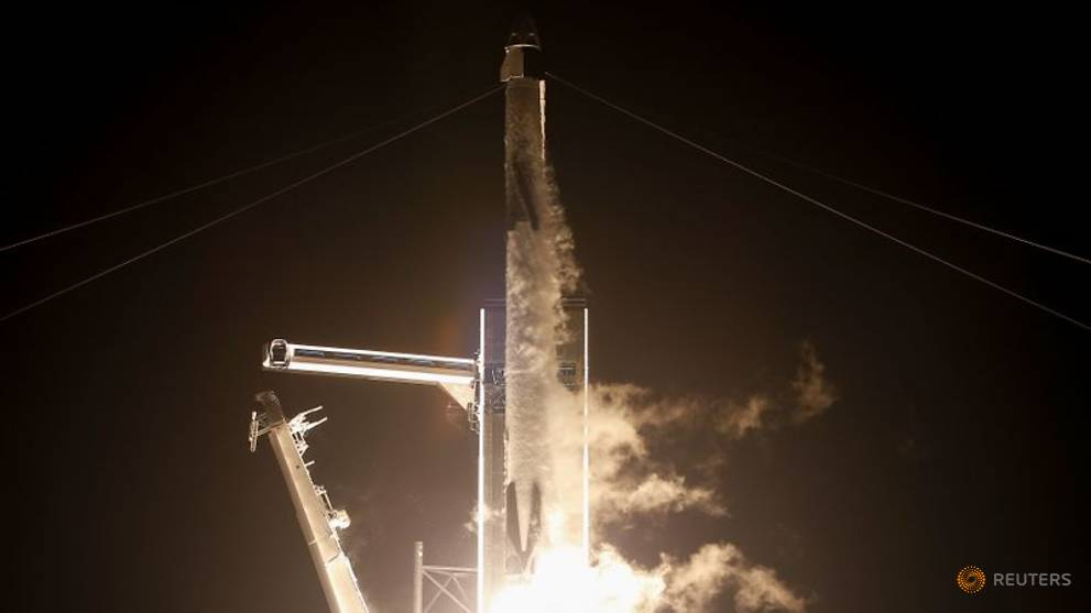 Four astronauts headed to space station in SpaceX Crew Dragon capsule