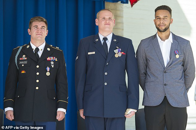 US hero who helped overpower French train terrorist tells trial the gunman tried to kill him THREE different ways but failed with his assault rifle, pistol and knife