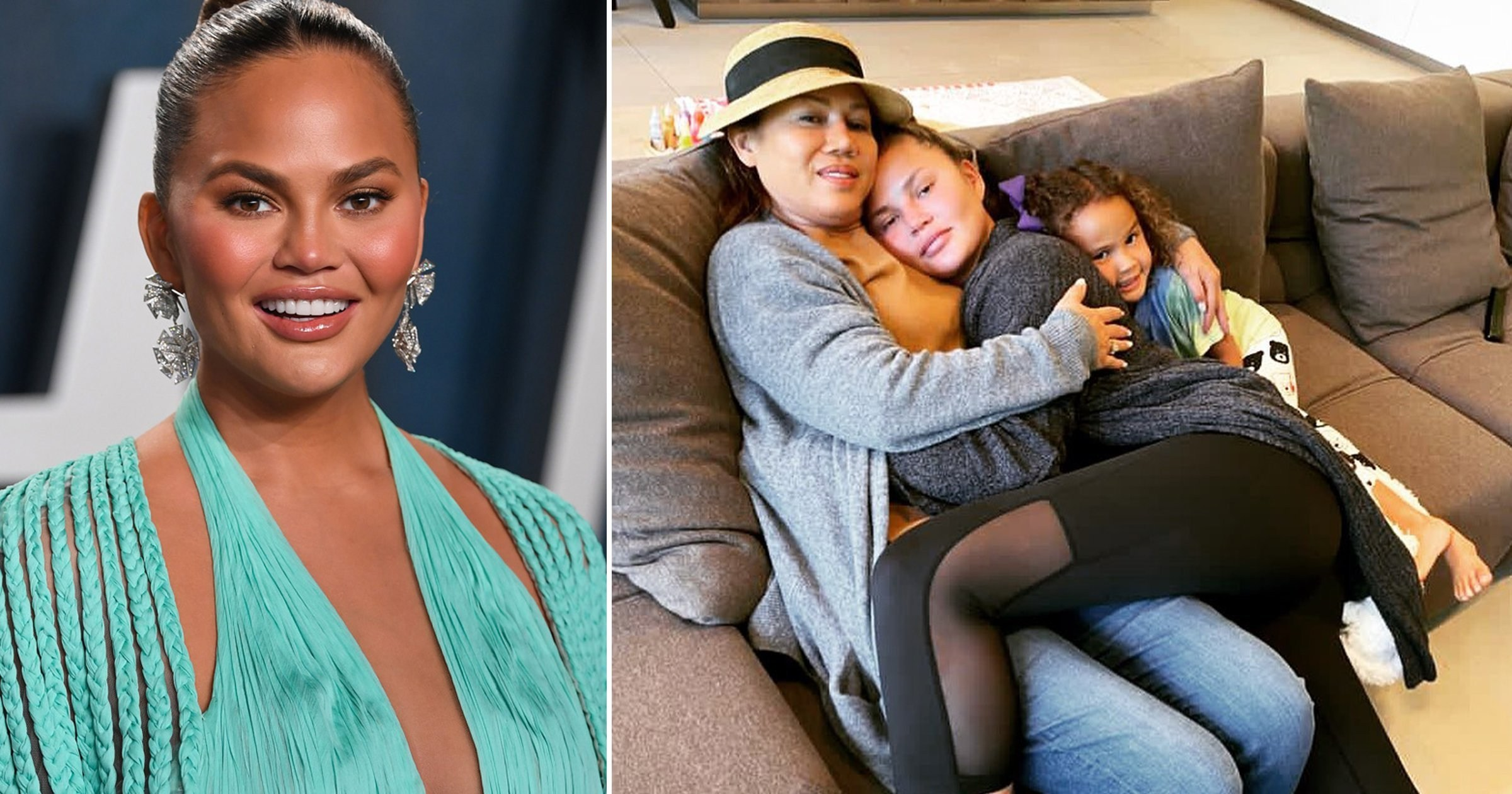 Chrissy Teigen promises to share story of 'hardest four days of her life' as she cuddles up to mum