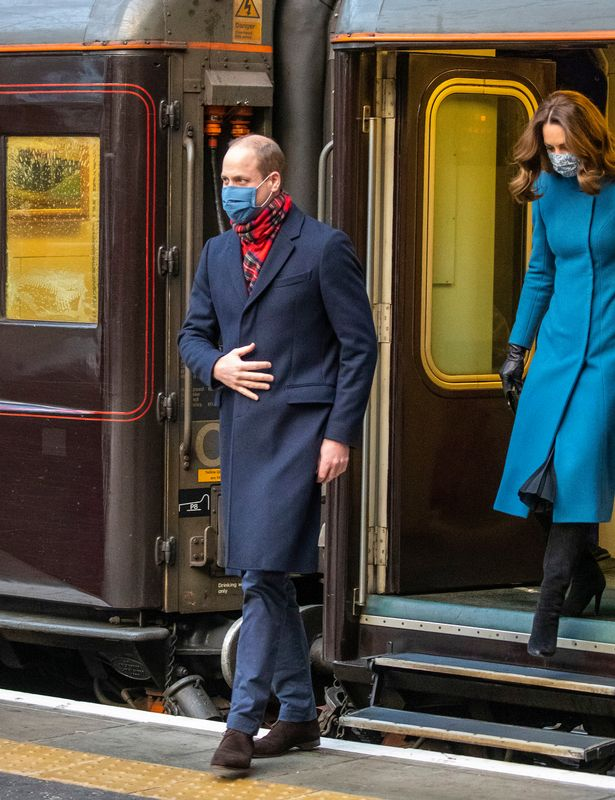Kate Middleton and Prince William meet reindeer at school during Royal Train tour