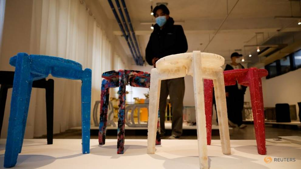 South Korean student makes stools out of recycled face masks