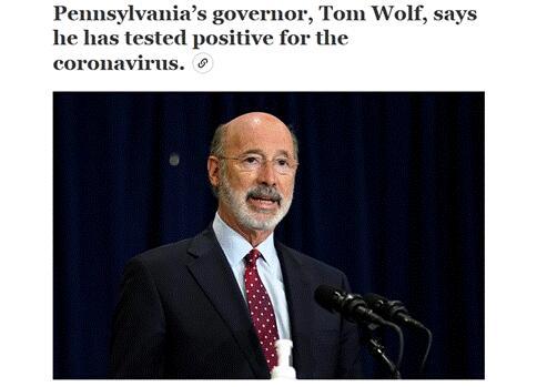 """宾州州长自曝新冠检测呈阳性,发推警告:""""没有人能对新冠免疫"""""""