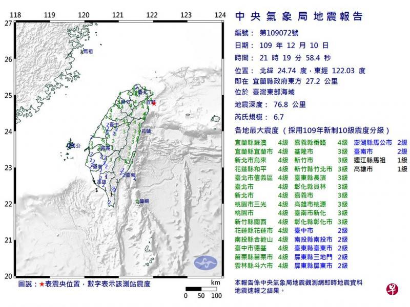 台东部海域发生6.7级地震 暂无人员伤亡