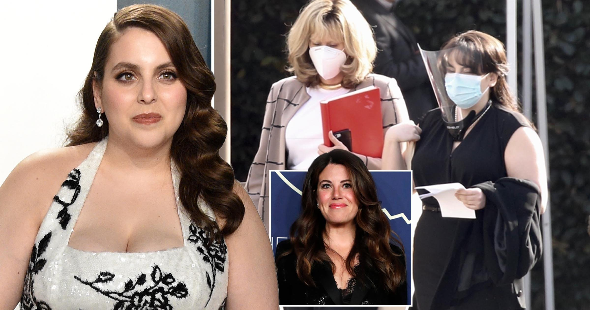 Beanie Feldstein's transformation into Monica Lewinsky seen for first time on set of American Crime Story: Impeachment