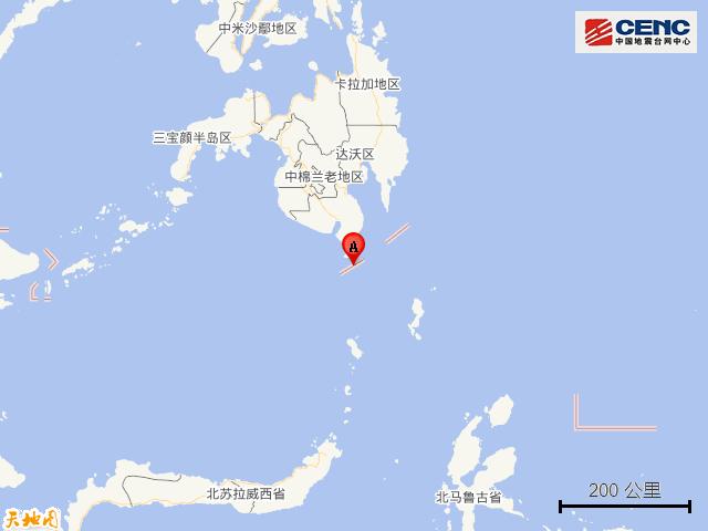 菲律宾棉兰老岛附近发生6.3级左右地震