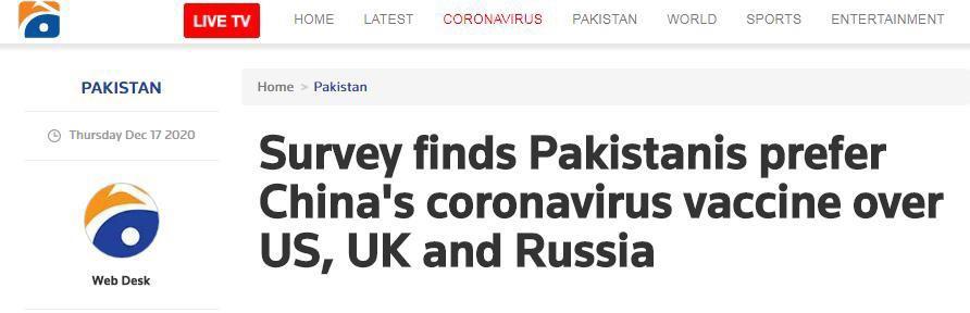 民调:与美英俄疫苗相比,大多数巴基斯坦受访者更倾向于接种中国疫苗