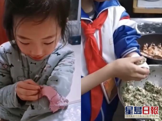 学缝衫包饺子 天生缺左臂10岁女童:要对得起自己的生命