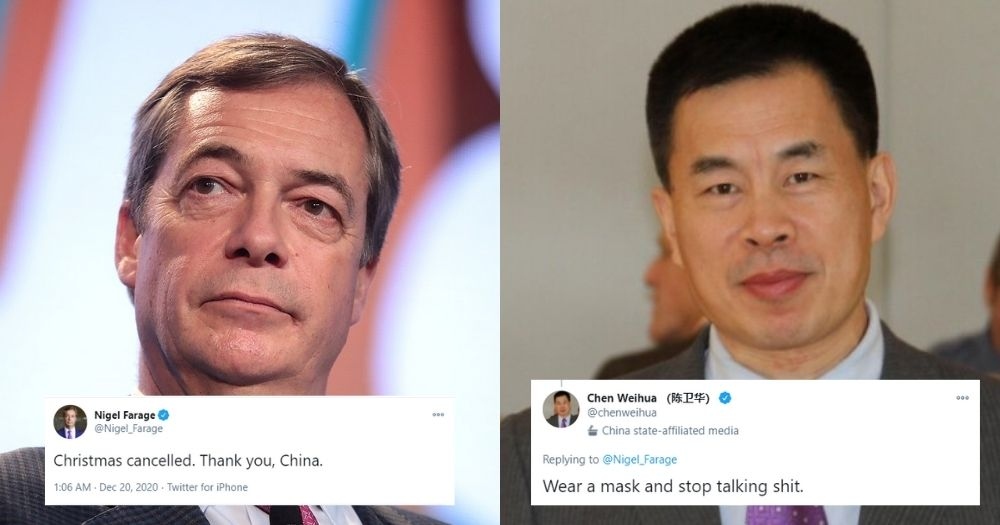 Nigel Farage blames China for UK's Christmas lockdown, Chinese reporter asks him to 'stop talking shit'