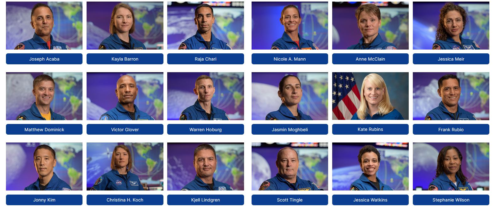 NASA Announces its Artemis Astronauts: 18 People Training to Fly to the Moon
