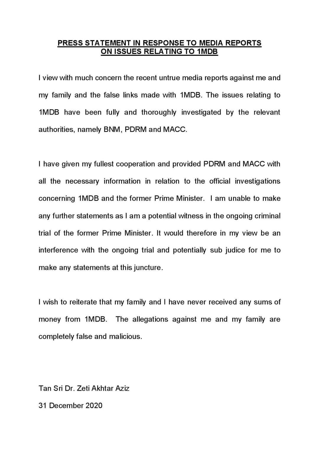 洁蒂否认家属曾收取刘特佐资金指控