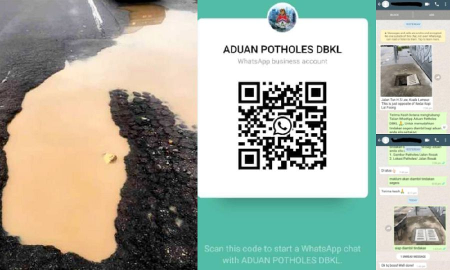 See potholes? Report to DBKL on WhatsApp