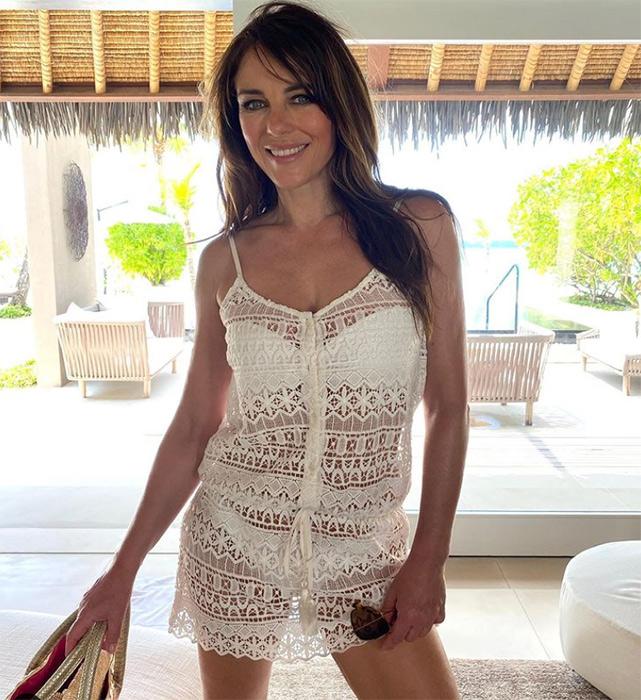 Elizabeth Hurley looks totally flawless in white bikini
