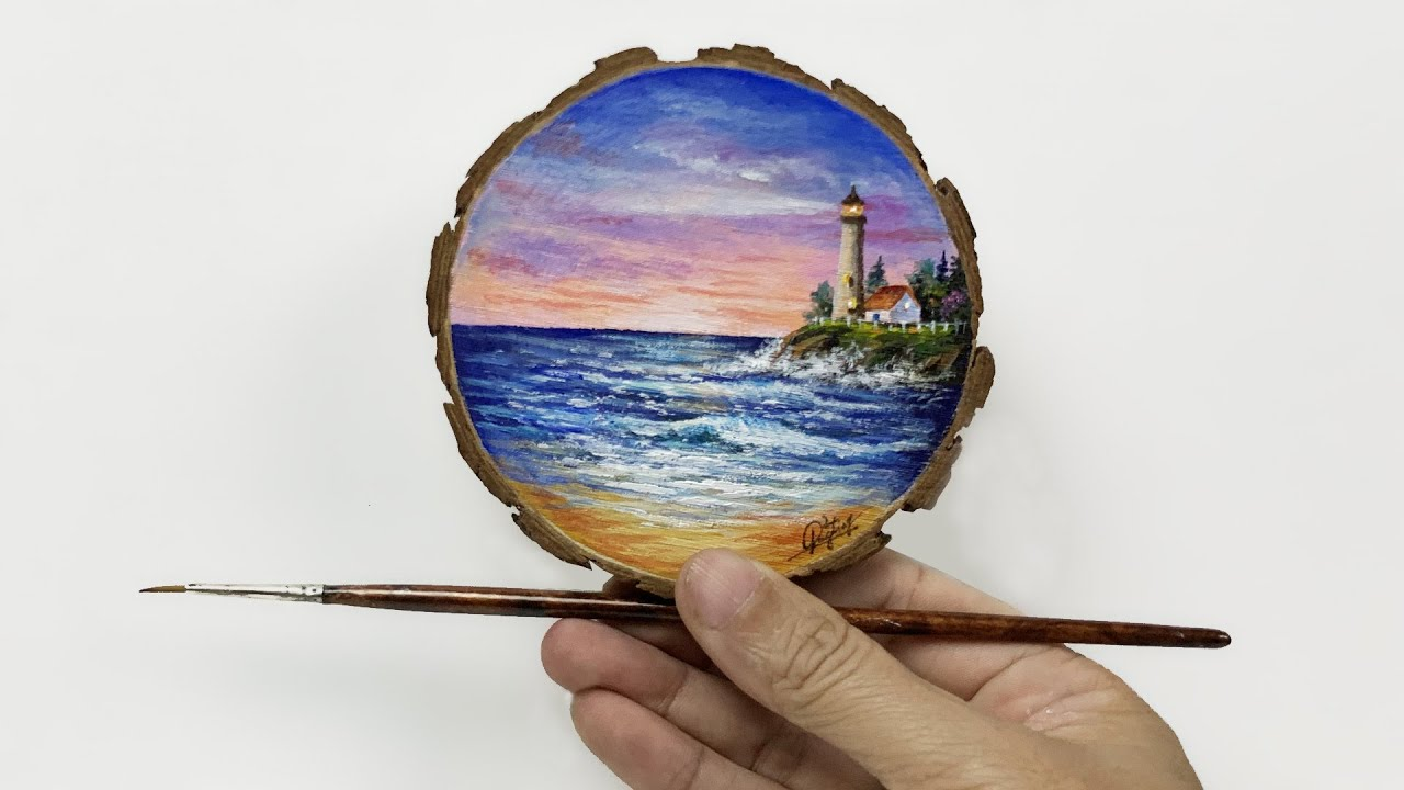 Daily challenge #204 / Acrylic / Lighthouse on Wood Round Art