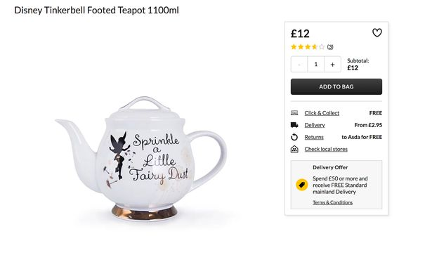 Asda shopper spots awkward spelling mistake on 'beautiful' Disney teapot