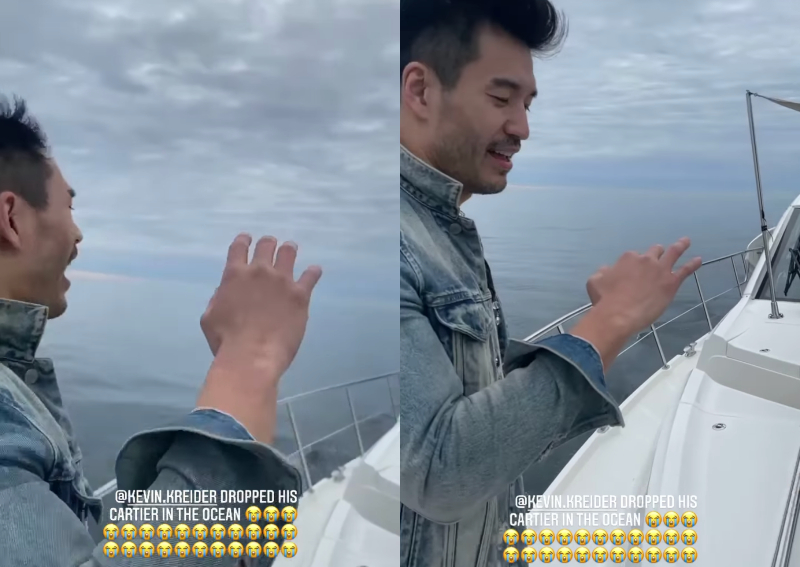 Bling Empire's Kevin receives Cartier ring from Christine Chiu at a yacht party and guess what happens?