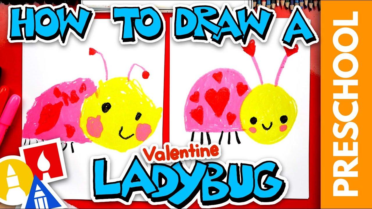 How To Draw A Valentine's Ladybug - Preschool
