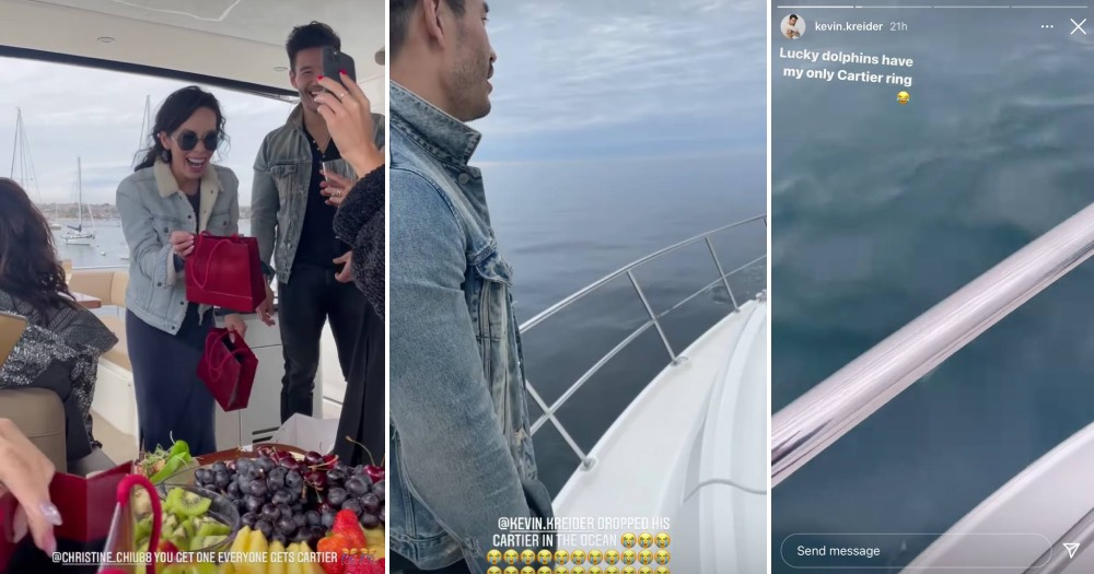'Bling Empire' star Kevin Kreider drops Cartier ring in ocean moments after receiving it at yacht party
