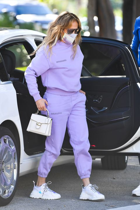 J.Lo's Lilac Sweat Suit Makes Us Want to Upgrade Our Work-From-Home Attire