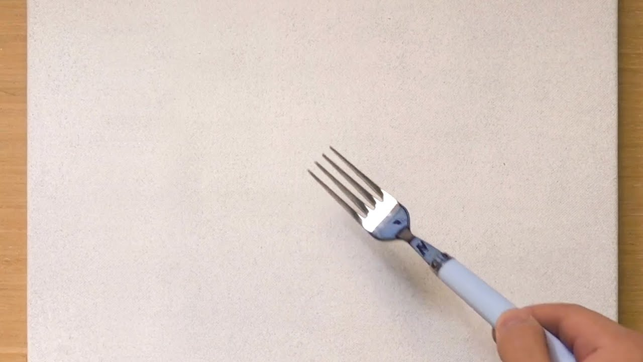 Scratch Painting Technique Using a Fork