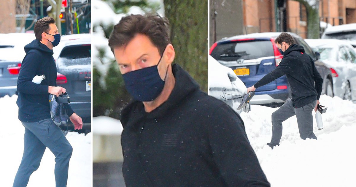 Hugh Jackman wades through New York snow to gym session and we stan his dedication