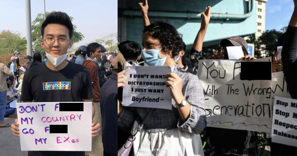 'I don't want dictatorship, I just want boyfriend': Young Myanmar citizens protest with creative signs
