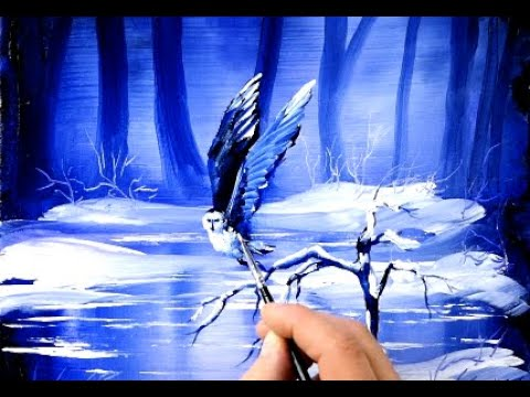 1 MINUTE ART - SNOW OWL | EASY acrylic painting for BEGINNERS | Abstract