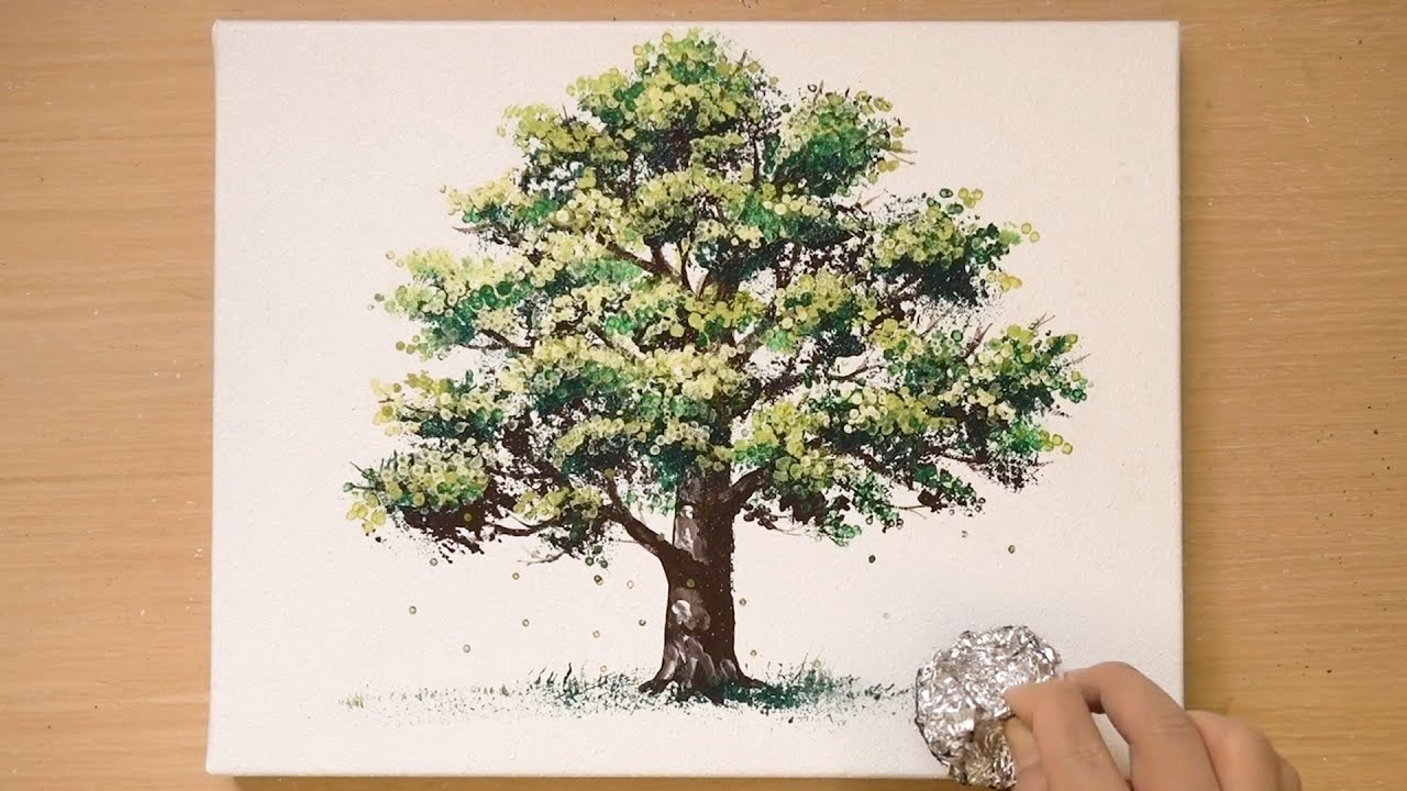 How to draw a tree easy   Aluminum painting technique   Quick painting