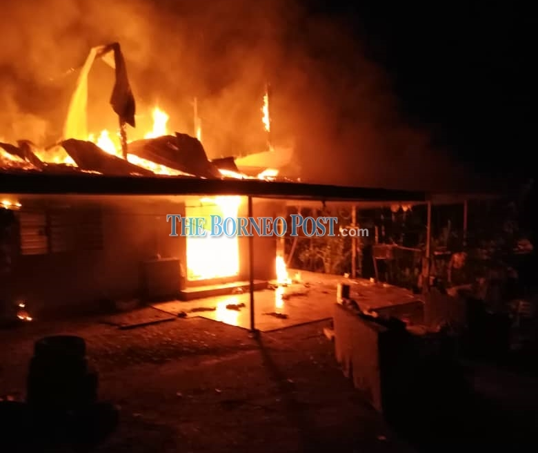 Three made homeless after fire destroys house in Sarikei