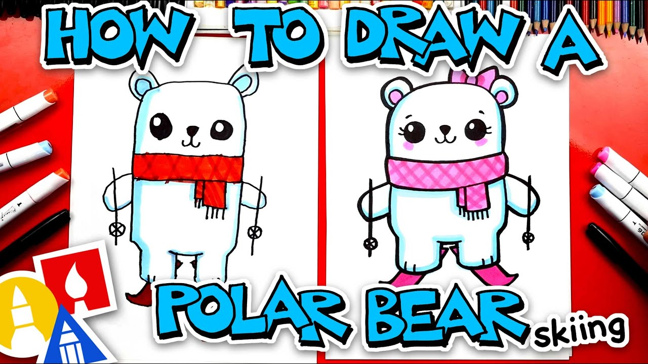 How To Draw A Funny Cartoon Polar Bear Skiing