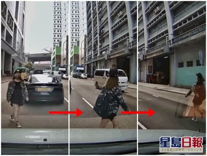 【有片】葵涌女马路中横冲直撞 急步挡车险生意外