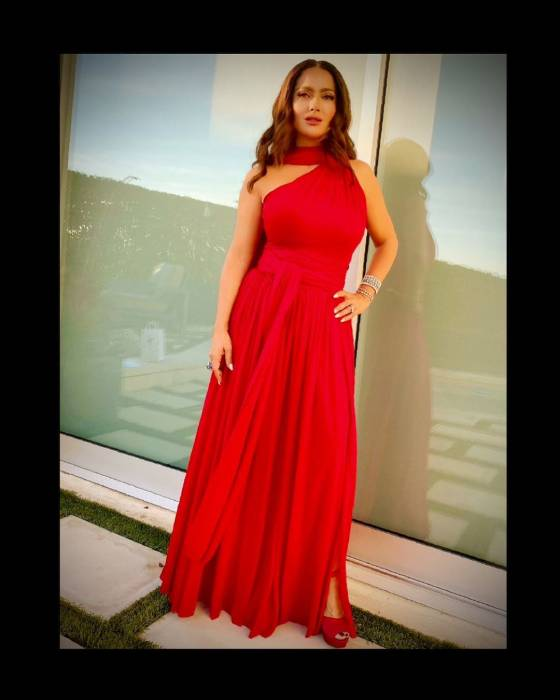 Salma Hayek's sunset photo in cut-out gown has fans saying the same things