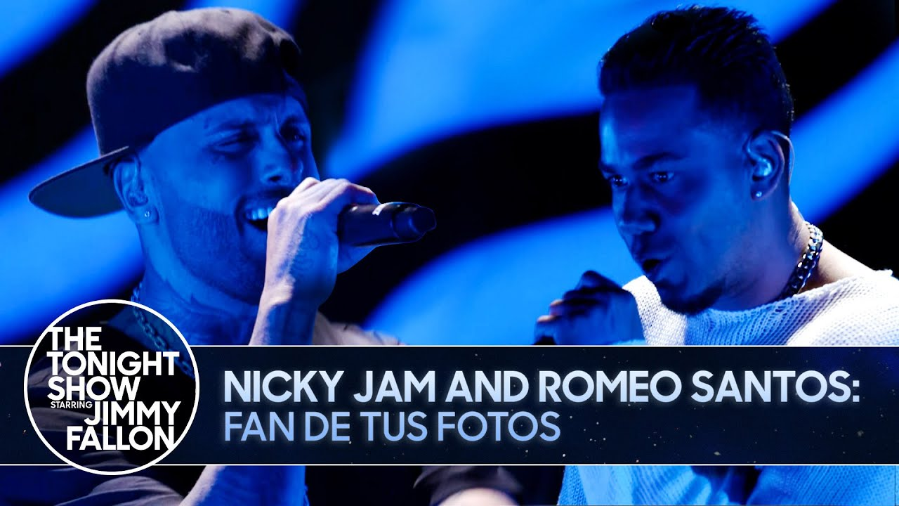 Nicky Jam and Romeo Santos: Fan de Tus Fotos | The Tonight Show Starring Jimmy Fallon