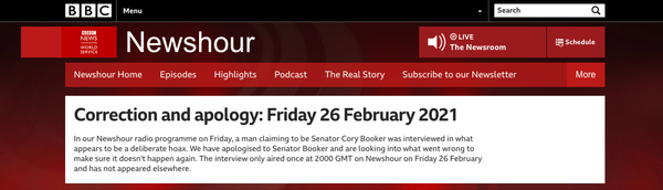 BBC Apologizes for Interview With Cory Booker Impostor