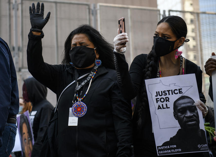 US protesters demand justice in trial of officer charged over George Floyd's death