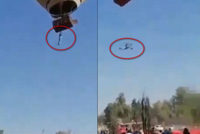 男游客摔出热气球 撑不住了松手坠下