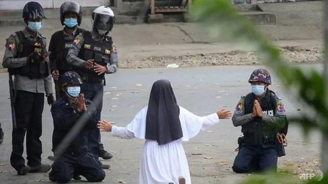 'Shoot me instead': Myanmar nun pleads with junta forces